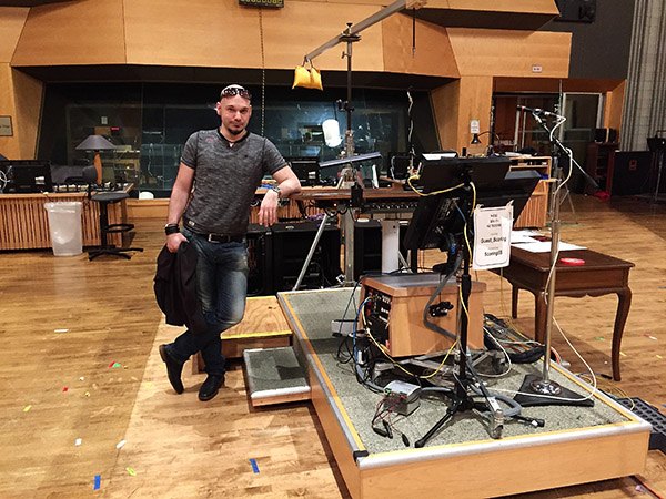 Carl Falkenau at the Newman Scoring Stage, 20th Century Fox in Los Angeles.
